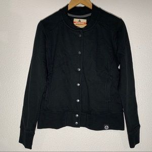 American Giant L Black Button Baseball Jacket